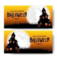 Modelo de banner de festa de Halloween com castelo assustador com luar