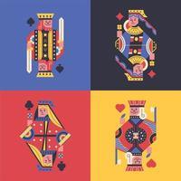 Cartões coloridos do rei e da rainha vetor