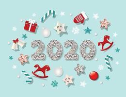 Modelo de ano novo de 2020 vetor