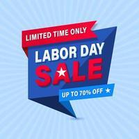 Modelo de Banner geométrico de promoção de venda do dia do trabalho vetor