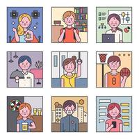 Conjunto de caracteres em várias ocupações