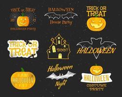 Conjunto de emblemas vintage e feliz dia das bruxas, rótulos, logotipos. vetor