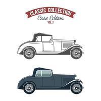 Ícones de carros retrô, símbolos em cor lisa e estilo monocromático vetor