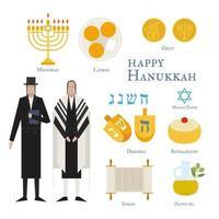 Comida tradicional e símbolos do feriado judaico Hanukkah vetor