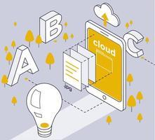 Conceito de serviço de nuvem de dados móvel em desenho de linha vetor