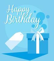 cartão de feliz aniversário com caixa de presente e tag