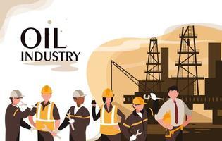 cena da indústria de petróleo com plataforma marinha e trabalhadores