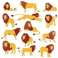 Conjunto de leões planos desenhados à mão vetor