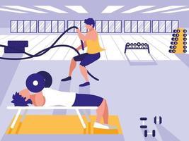 homens atléticos com esporte de corda e levantando halteres no ginásio vetor