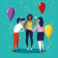 mulheres comemorando um aniversário vetor