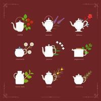 Menus de chá de ervas. Bules elegantes em várias formas.