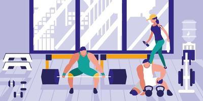 área para levantamento de peso no ginásio esportivo
