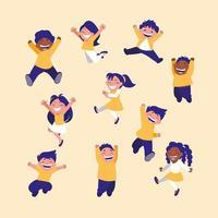 grupo de crianças comemorando vetor