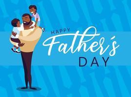 cartão de feliz dia dos pais com crianças