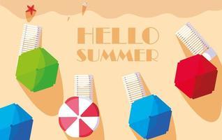 Olá banner de praia verão