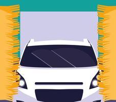Carro em lavagem de carro vetor