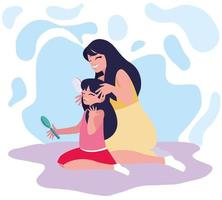 Mãe escovar o cabelo filhas