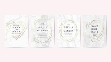 Cartão de convite de casamento de mármore de luxo