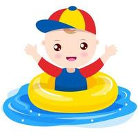 Menino brincando com anel de natação vetor