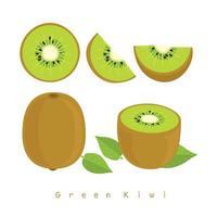 Conjunto de Kiwi Verde vetor