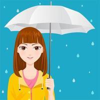 Linda garota com uma capa de chuva amarela vetor