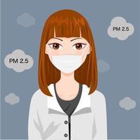 Mulheres usando máscara para evitar fumaça e poeira vetor