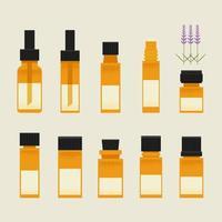 Conjunto de óleo de terapia em pequenos frascos
