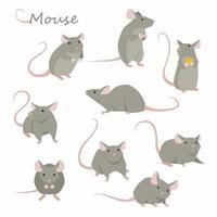 Conjunto de caracteres do rato bonitinho. vetor