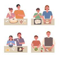 Crianças cozinhando com mamãe e papai
