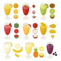 Bebidas de frutas em copos de suco com ícones de frutas