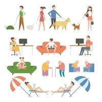 Personagens de vários estilos de vida. vetor