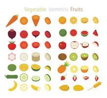 Conjunto de frutas e vegetais