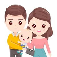Pai segurando a criança com linda mãe