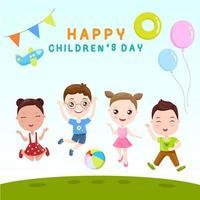 Crianças felizes pulando com texto de feliz dia das crianças