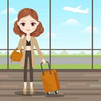 Linda menina pronta para viajar