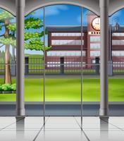 Campus da escola a partir da janela
