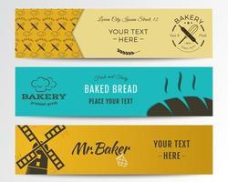 Coleção de banners de padaria e comida vetor