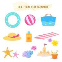 Conjunto de itens para o verão