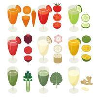 Desenho isométrico de bebidas vegetais em um copo de suco. Ícones de vegetais. vetor