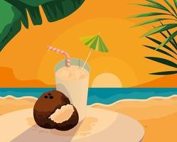 Suco e coco de coco fresco