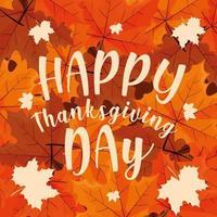 feliz dia de ação de Graças com folhas