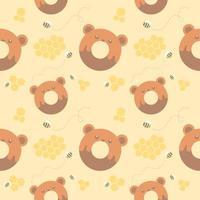 padrão sem emenda urso donut e favo de mel