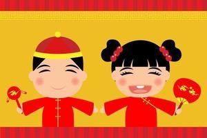 Menino menina, desgastar, vestido chinês vetor