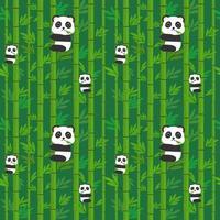 Panda sem costura padrão no bambu.