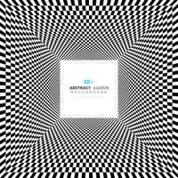 Fundo mínimo abstrato ilusão quadrado preto e branco vetor