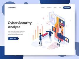 Conceito de ilustração isométrica de analista de segurança cibernética