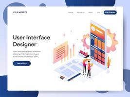 Ilustração isométrica do designer de interface do usuário