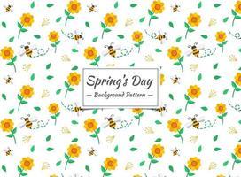 Abelha de primavera e teste padrão de flor vetor