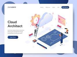 Conceito de ilustração isométrica de arquiteto de nuvem