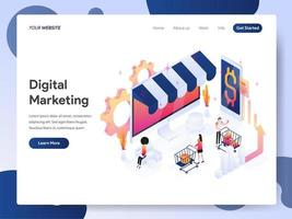 Conceito de ilustração isométrica de analista de marketing digital